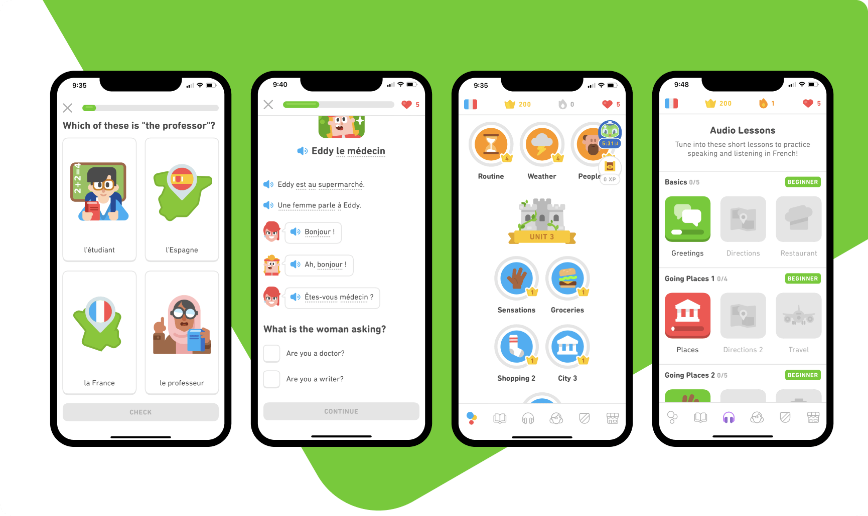 Duolingo lesson and task types. How to build a language learning app?