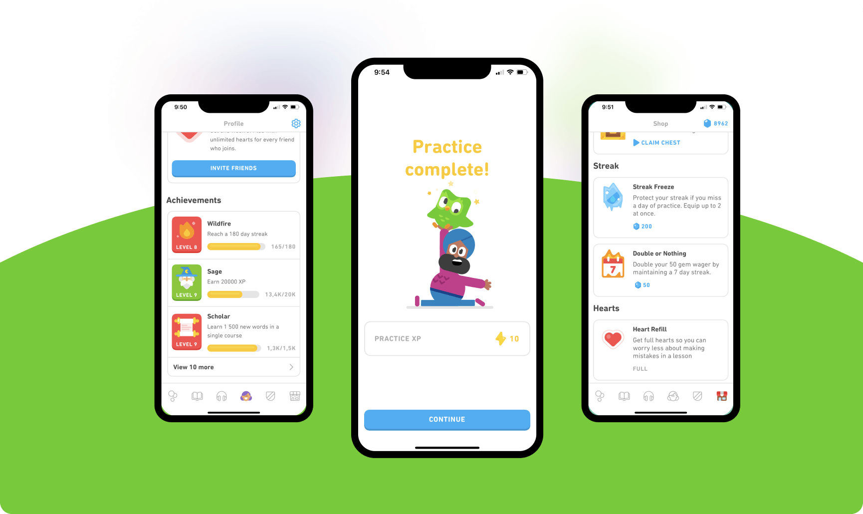 Duolingo gamification: achievements, experience points, virtual currency