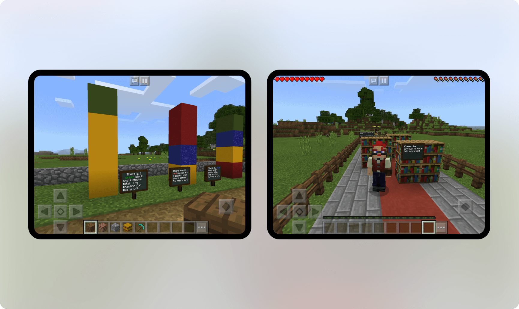 Minecraft Education Edition: visualizing fractions, a virtual library
