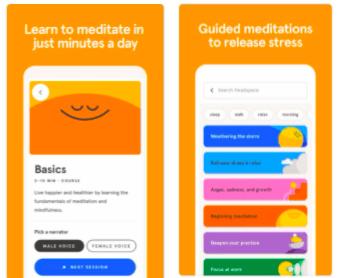 Mental health app development example: Headspac